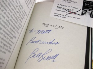 Bill Russell autographed book, Red and Me