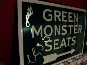 Josh Beckett autographed Green Monster Seats sign
