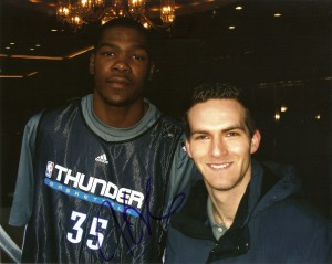 Kevin Durant autographed picture with Matt Raymond