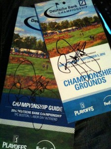 Rickie Fowler autographed Deutsche Bank Championship badge & program