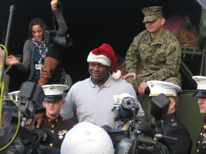 Shaquille O'Neal poses with Marines at a Toys For Tots event in Framingham, Mass.