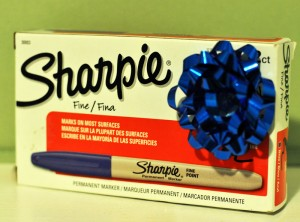 Blue Sharpies with a bow